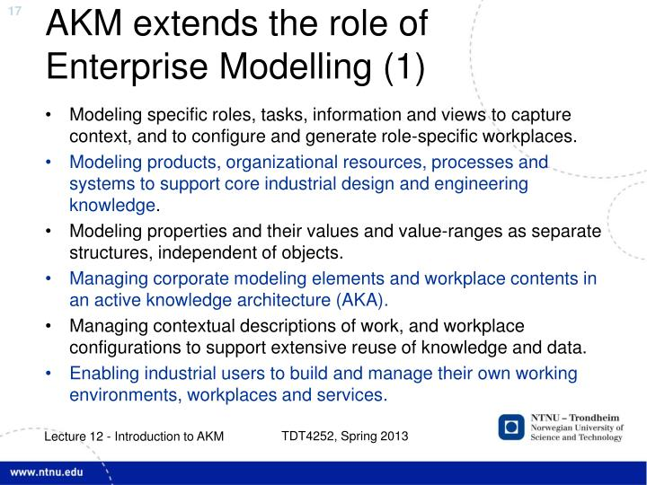 AKM extends the role of Enterprise Modelling (1)