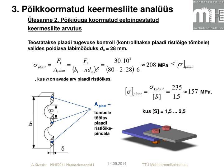 3. Põikkoormatud keermesliite analüüs