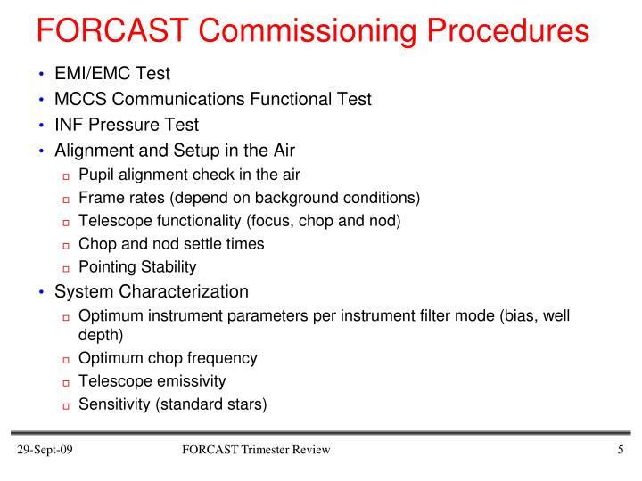 FORCAST Commissioning Procedures