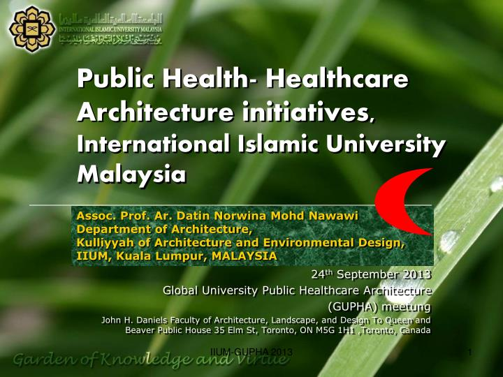 Public Health- Healthcare Architecture initiatives,