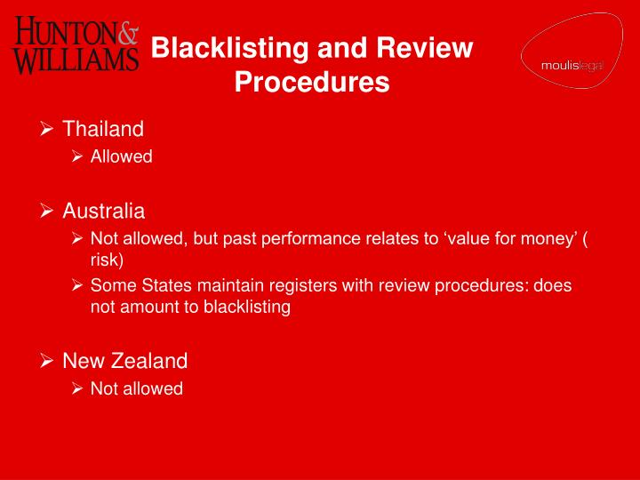 Blacklisting and Review Procedures