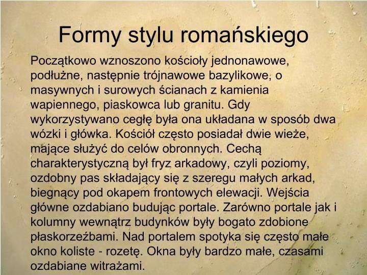 Formy stylu romańskiego