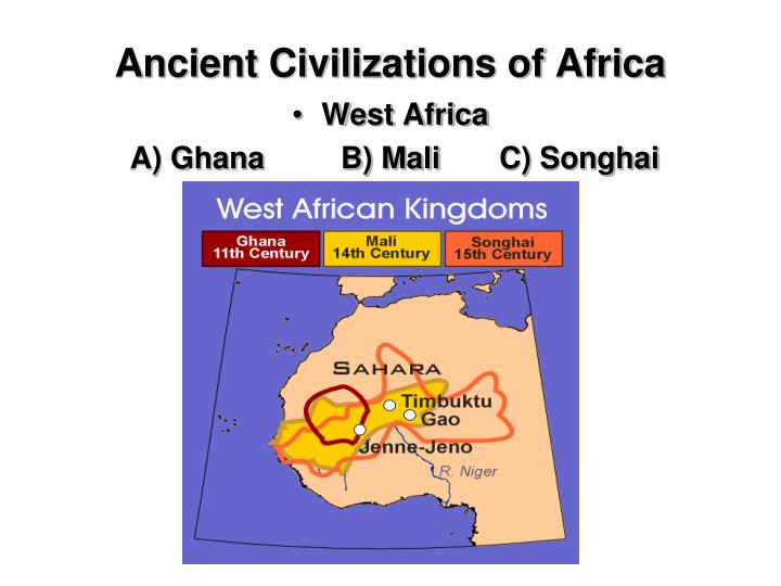 examples of early african civilizations Mesopotamia were the first civilization, the minoans and the egyptians were also among early civilizations chinese, romans, greeks, aztecs and incas were other early civilization chinese, romans, greeks, aztecs and incas were other early civilization.