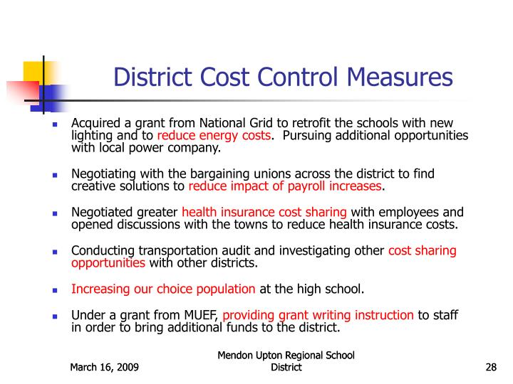 District Cost Control Measures