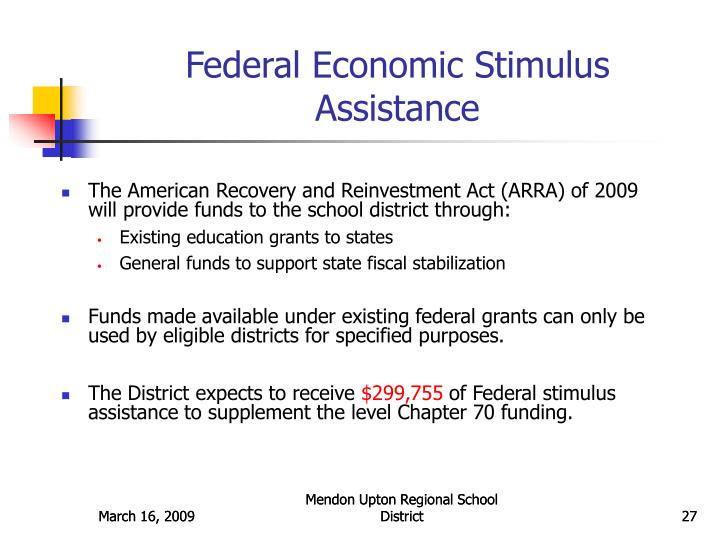Federal Economic Stimulus Assistance