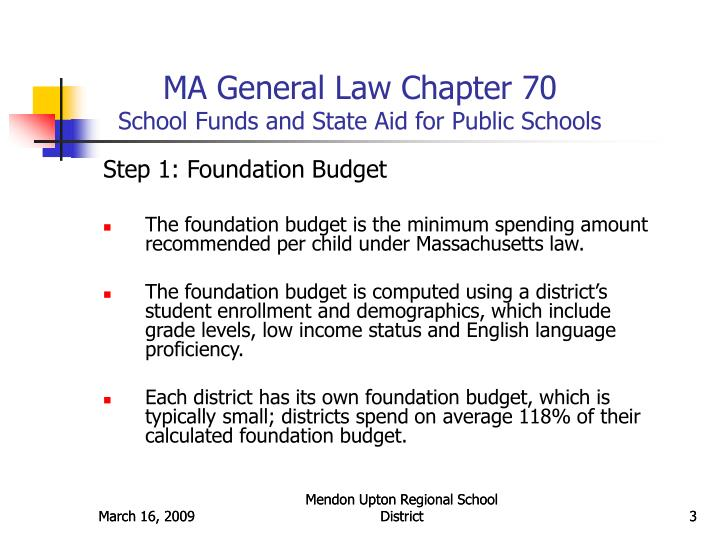 Ma general law chapter 70 school funds and state aid for public schools