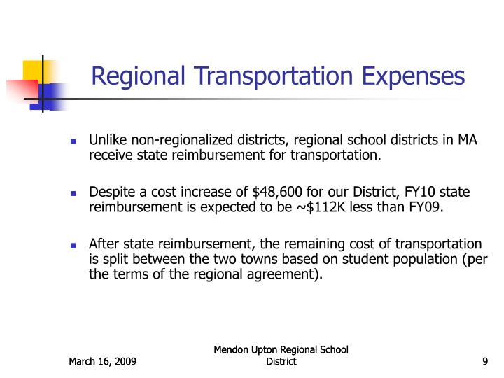 Regional Transportation Expenses