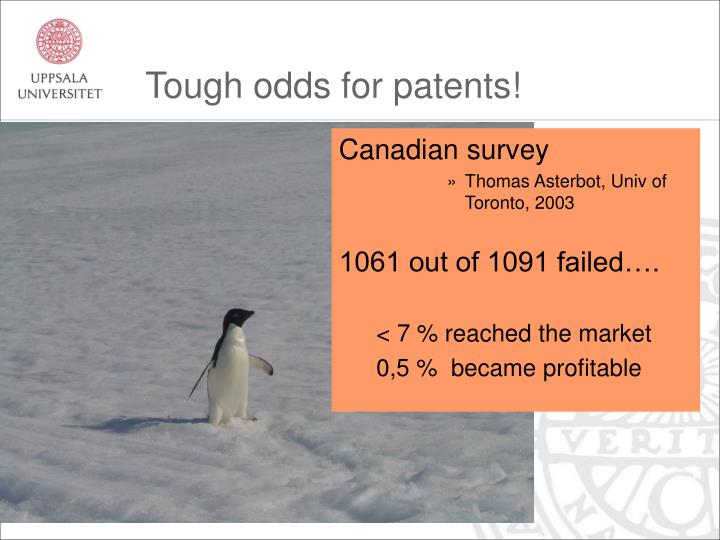 Tough odds for patents!