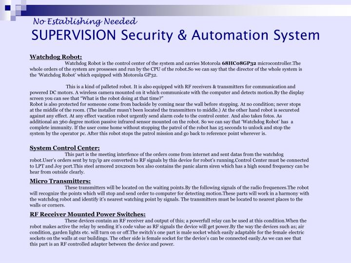 SUPERVISION Security & Automation System