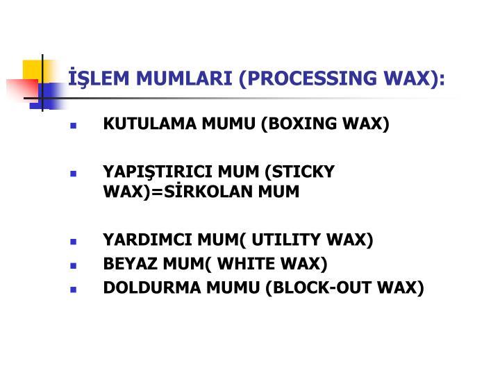 İŞLEM MUMLARI (PROCESSING WAX):