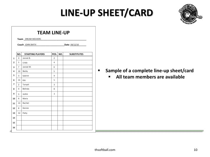 LINE-UP SHEET/CARD