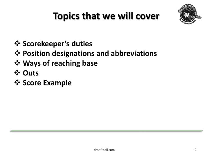 Topics that we will cover