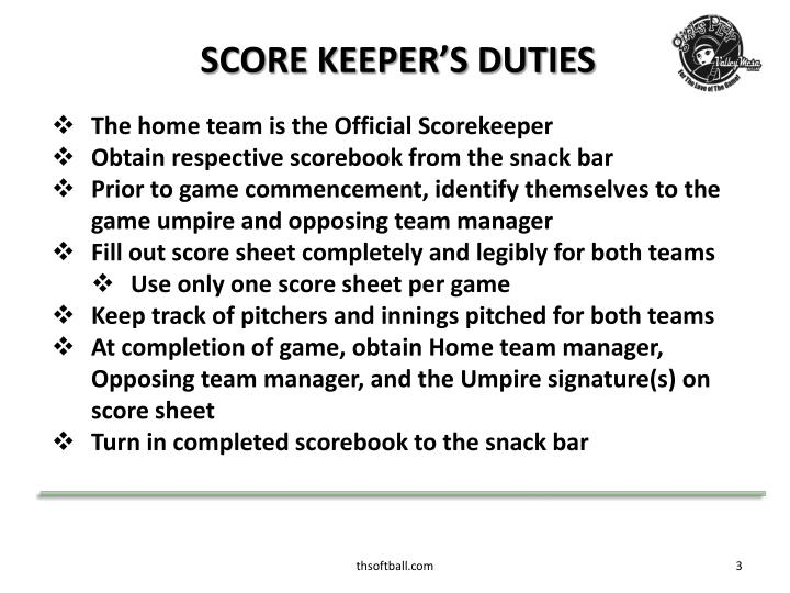 SCORE KEEPER'S DUTIES