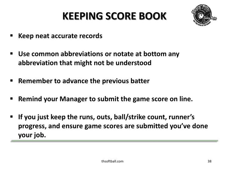 KEEPING SCORE BOOK