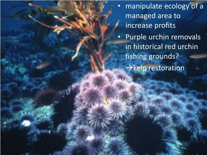 manipulate ecology of a managed area to increase profits