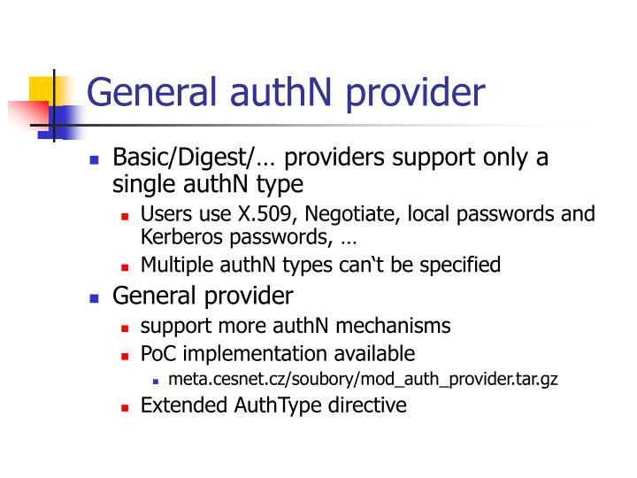 General authN provider