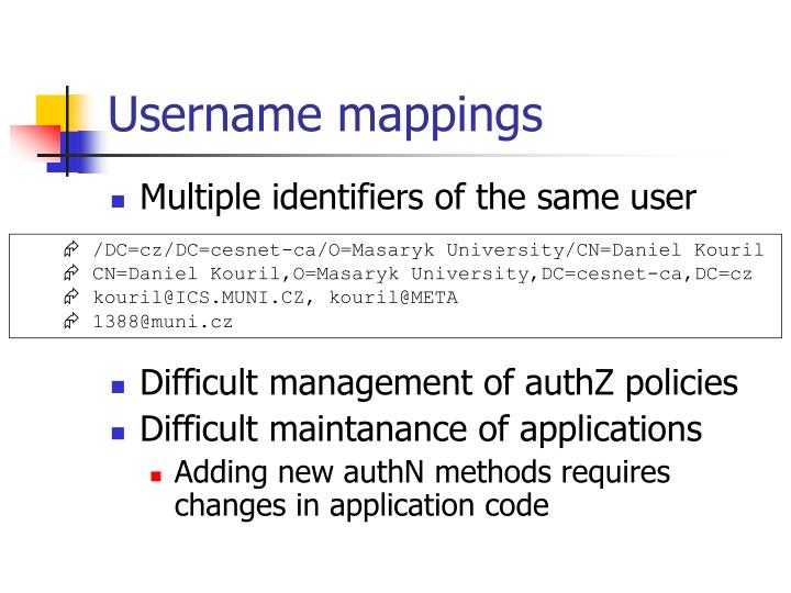Username mappings