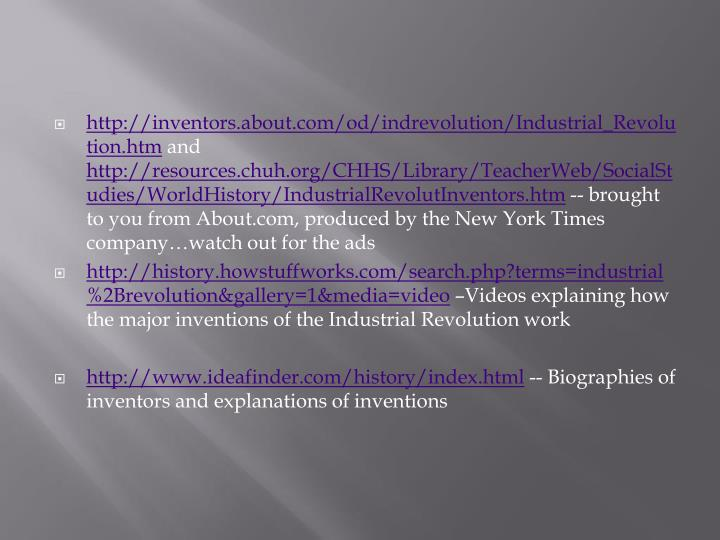 http://inventors.about.com/od/indrevolution/Industrial_Revolution.htm
