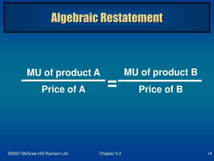 Algebraic Restatement