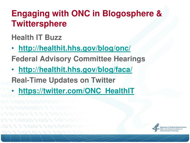 Engaging with ONC in Blogosphere & Twittersphere