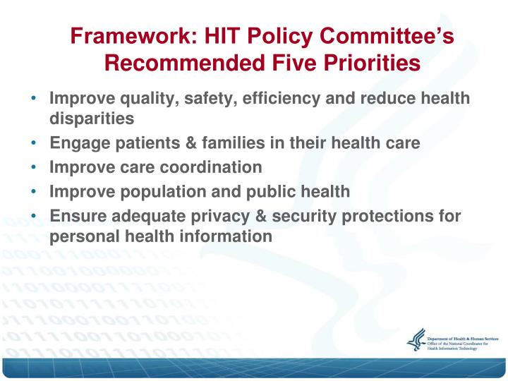 Framework: HIT Policy Committee's Recommended Five Priorities