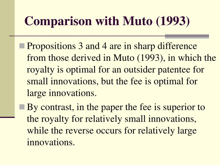 Comparison with Muto (1993)