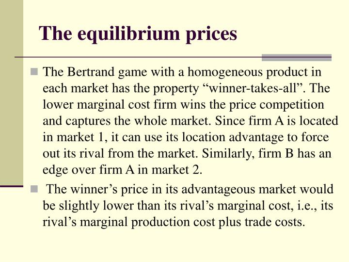The equilibrium prices