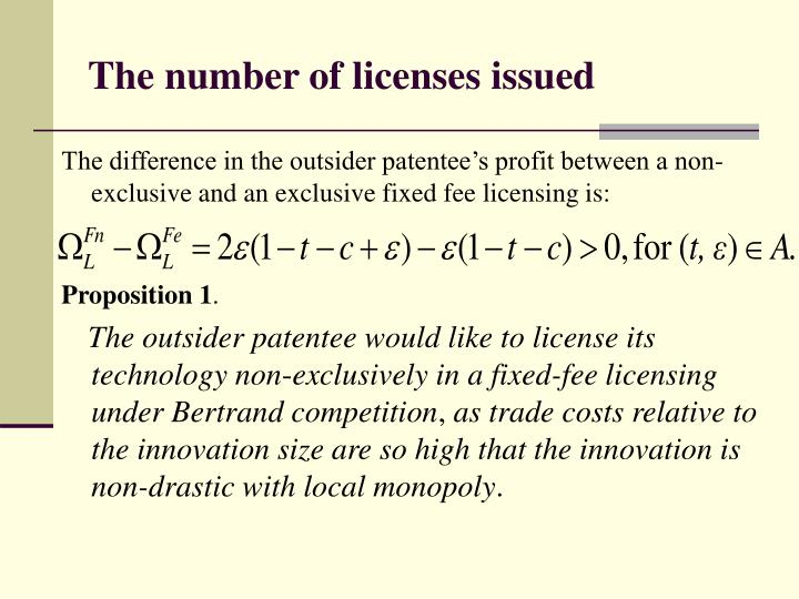 The number of licenses issued