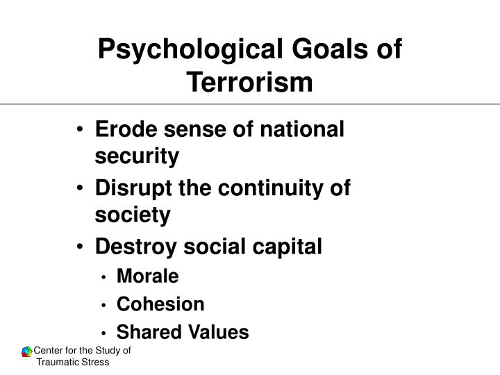 Psychological Goals of Terrorism