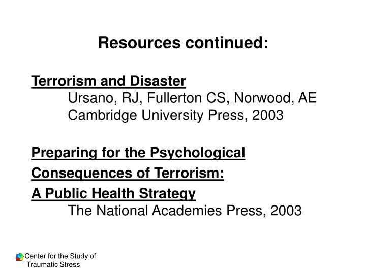 Resources continued: