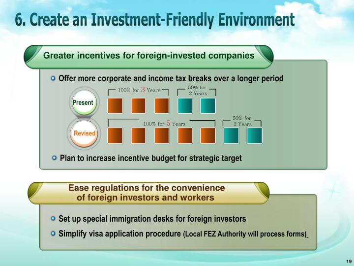 6. Create an Investment-Friendly Environment