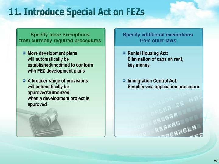11. Introduce Special Act on FEZs