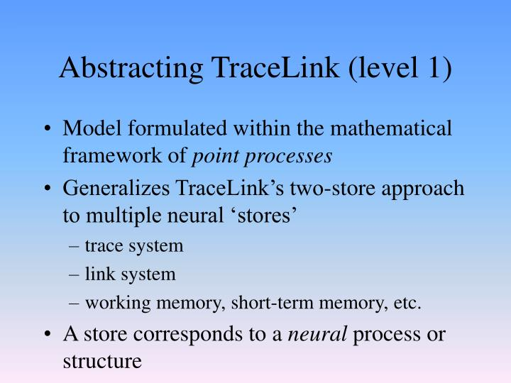 Abstracting TraceLink (level 1)