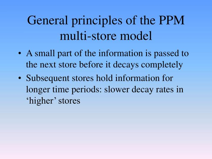 General principles of the PPM multi-store model
