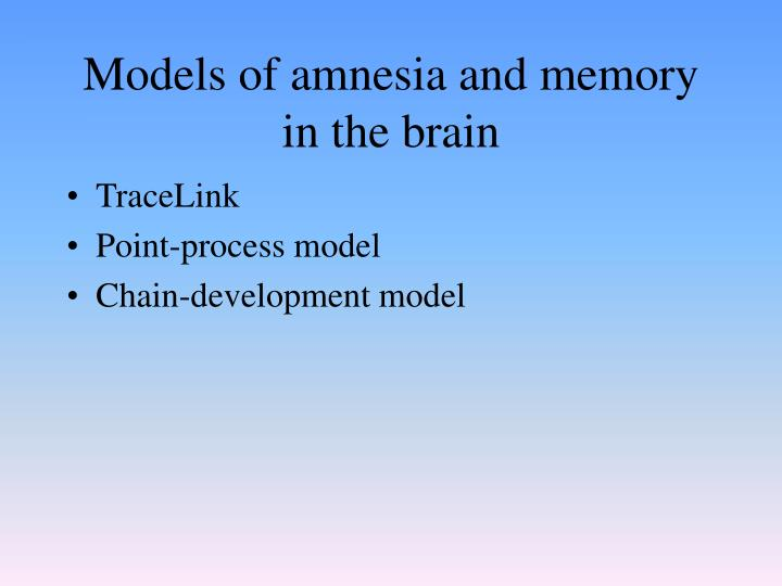 Models of amnesia and memory in the brain