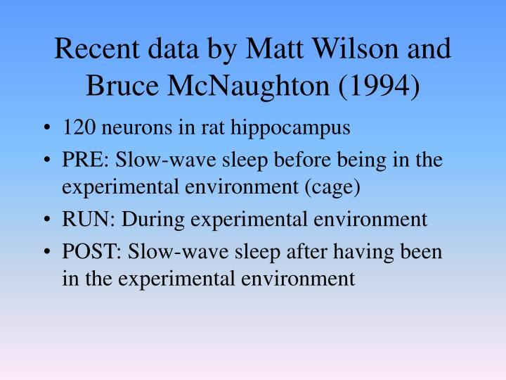 Recent data by Matt Wilson and Bruce McNaughton (1994)