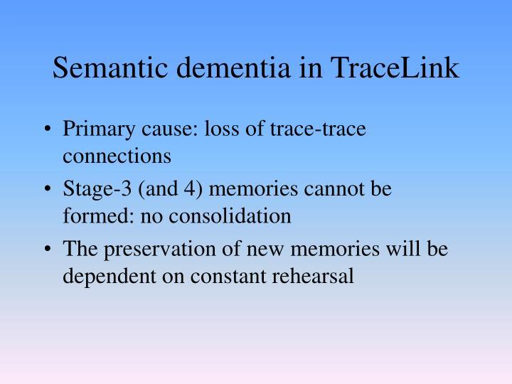 Semantic dementia in TraceLink