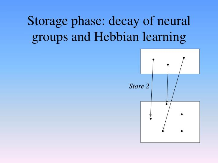 Storage phase: decay of neural groups and Hebbian learning
