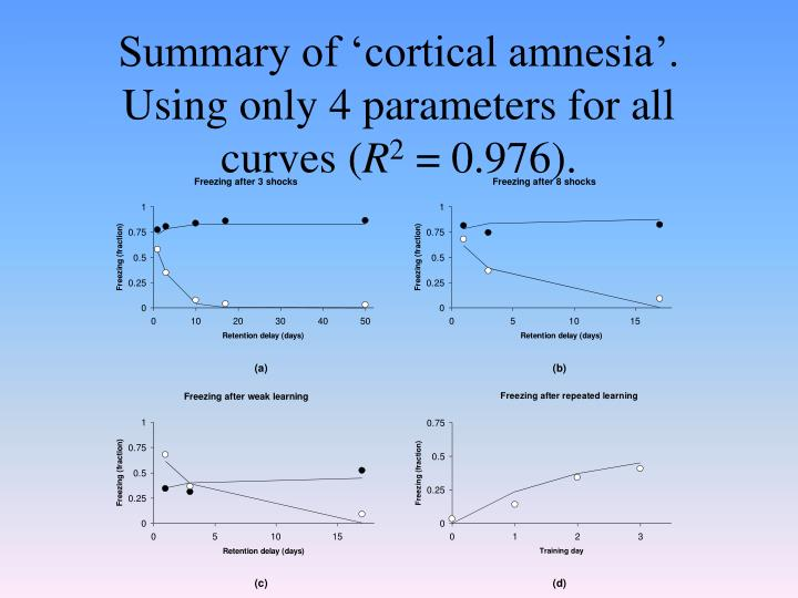 Summary of 'cortical amnesia'. Using only 4 parameters for all curves (