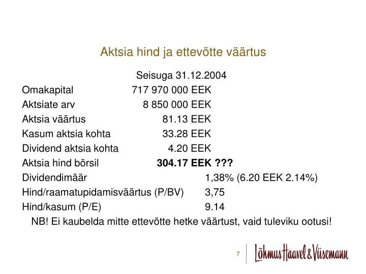 Aktsia hind ja ettevõtte väärtus