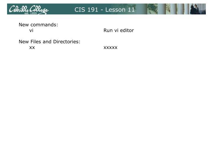 CIS 191 - Lesson 11