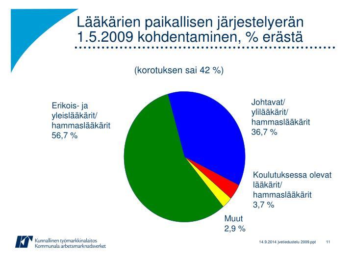 Lääkärien paikallisen järjestelyerän 1.5.2009 kohdentaminen, % erästä