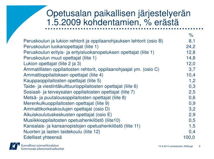 Opetusalan paikallisen järjestelyerän 1.5.2009 kohdentamien, % erästä