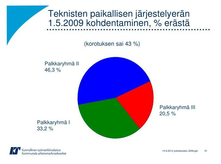 Teknisten paikallisen järjestelyerän 1.5.2009 kohdentaminen, % erästä