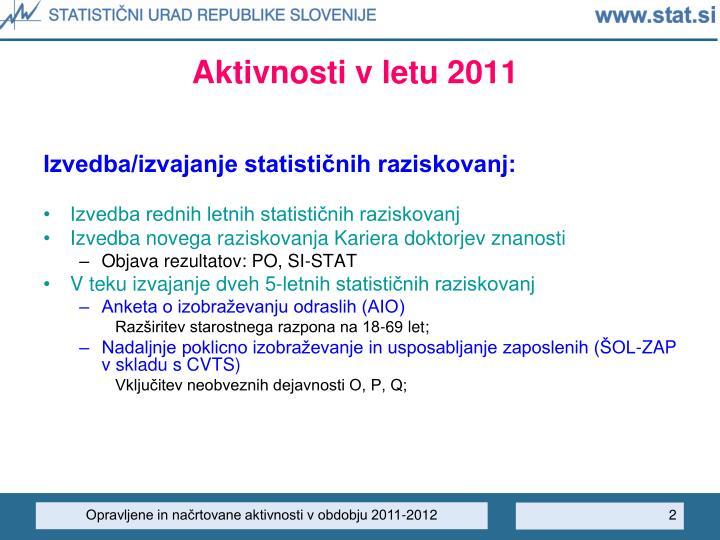 Aktivnosti v letu 2011