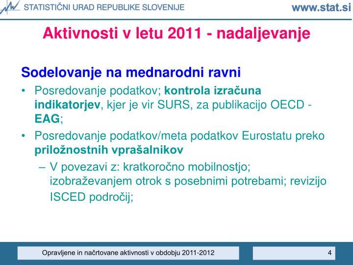 Aktivnosti v letu 2011 - nadaljevanje