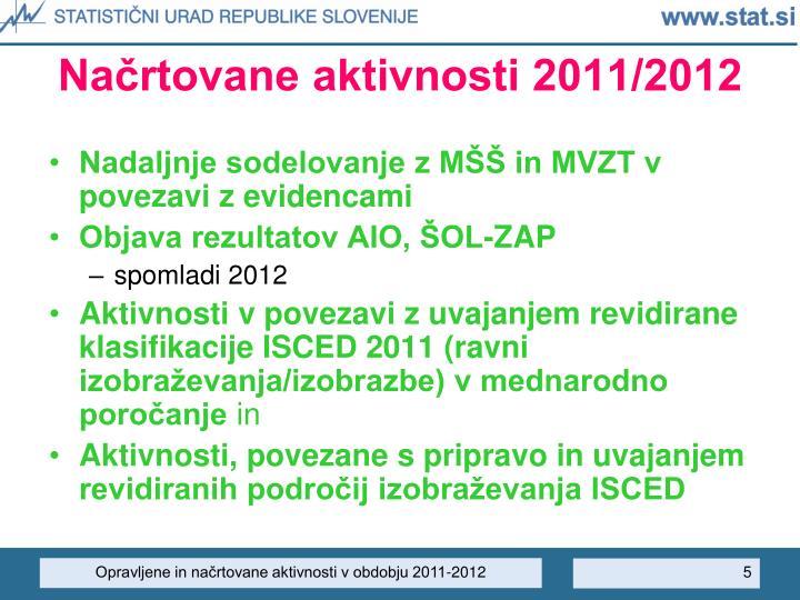 Načrtovane aktivnosti 2011/2012
