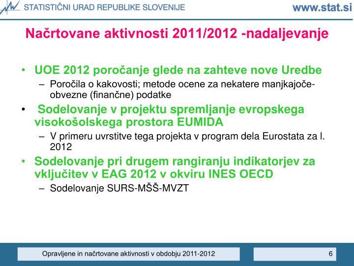 Načrtovane aktivnosti 2011/2012 -nadaljevanje