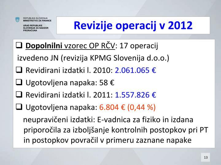 Revizije operacij v 2012