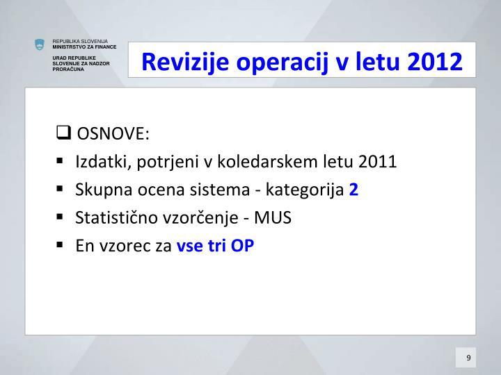 Revizije operacij v letu 2012